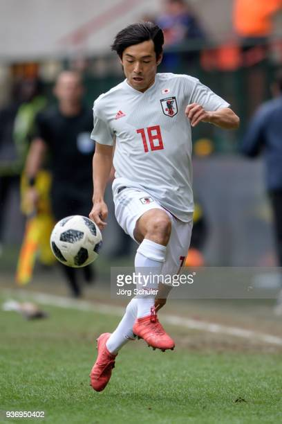 Shoya Nakajima of Japan during an international friendly between Japan and Mali at the Stade de Sclessin on March 23 2018 in Liege Belgium