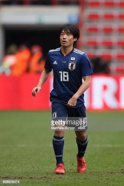 Shoya Nakajima of Japan during the International Friendly between Japan and Ukraine at Stade Maurice Dufrasne on March 27 2018 in Liege Belgium