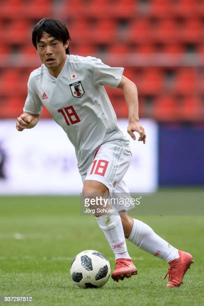 Shoya Nakajima of Japan during the International friendly match between Japan and Mali at the Stade de Sclessin on March 23 2018 in Liege Belgium