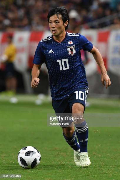 Shoya Nakajima of Japan in action during the international friendly match between Japan and Costa Rica at Suita City Football Stadium on September 11...