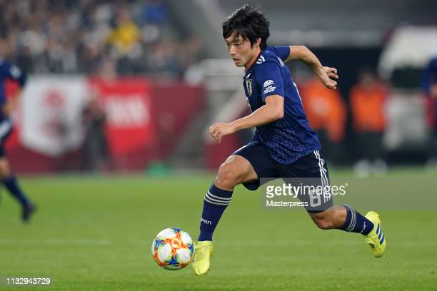 Shoya Nakajima of Japan in action during the international friendly match between Japan and Bolivia at Noevir Stadium Kobe on March 26 2019 in Kobe...