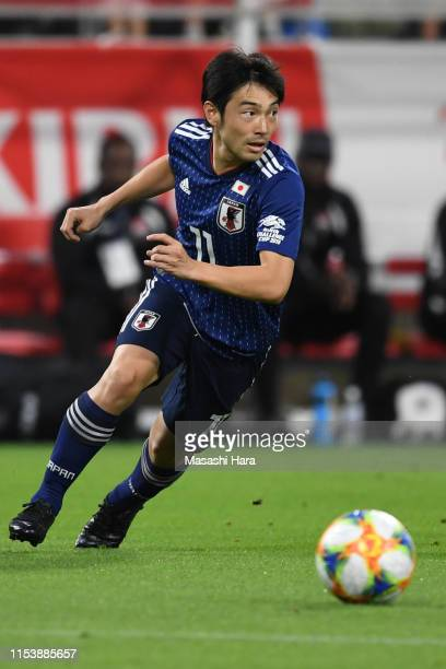 Shoya Nakajima of japan in action during the international friendly match between Japan and Trinidad and Tobago at Toyota Stadium on June 05, 2019 in...