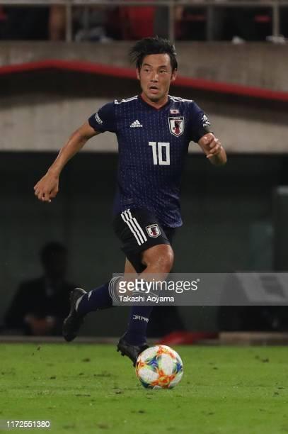 Shoya Nakajima of Japan in action during the international friendly match between Japan and Paraguay at Kashima Soccer Stadium on September 05, 2019...