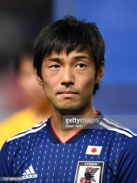 Shoya Nakajima of Japan looks on prior to the international friendly match between Japan and Costa Rica at Suita City Football Stadium on September...