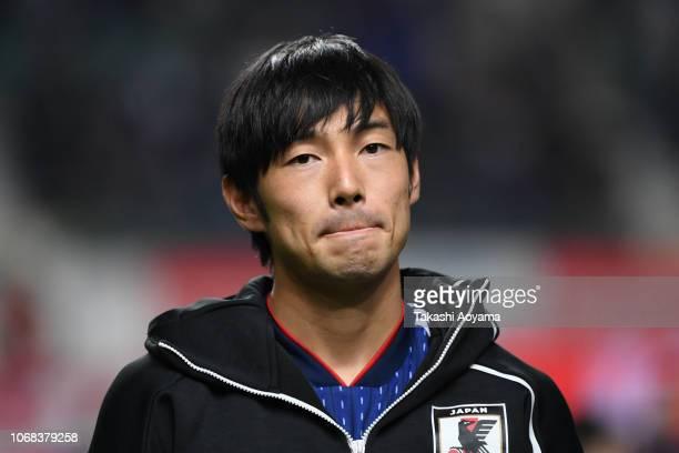 Shoya Nakajima of Japan looks on prior to the international friendly match between Japan and Venezuela at Oita Bank Dome on November 16, 2018 in...