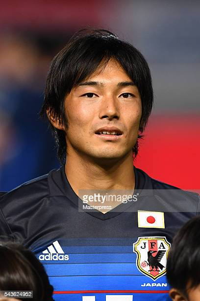 Shoya Nakajima of Japan looks on prior to the U23 international friendly match between Japan v South Africa at the Matsumotodaira Football Stadium on...