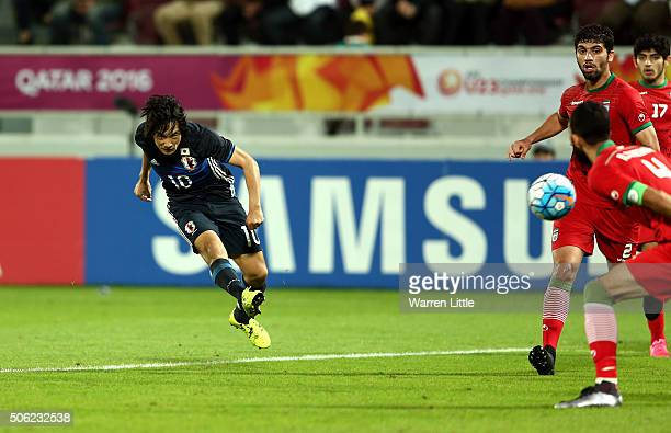 Shoya Nakajima of Japan scores a goal in extra time during the AFC U23 Championship quarter final match between Japan and Iran at the Abdullah Bin...