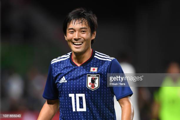 Shoya Nakajima of Japan smiles during the international friendly match between Japan and Costa Rica at Suita City Football Stadium on September 11...