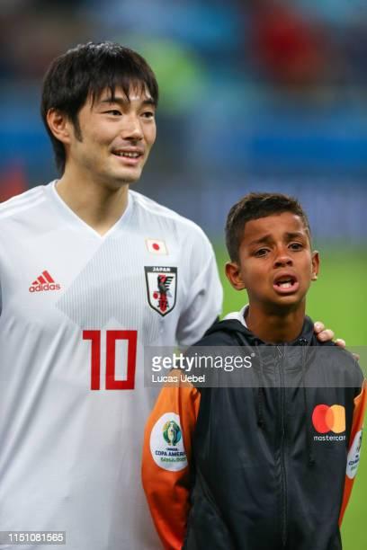 Shoya Nakajima of Japan smiles prior the Copa America Brazil 2019 group C match between Uruguay and Japan at Arena do Gremio on June 20 in Porto...