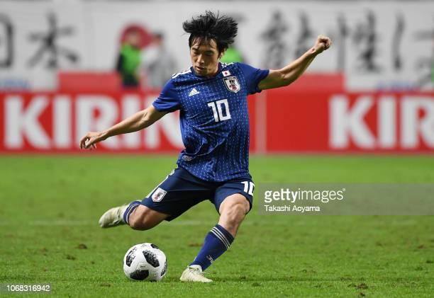 Shoya Nakajima of Japan takes a free kick during the international friendly match between Japan and Venezuela at Oita Bank Dome on November 16 2018...