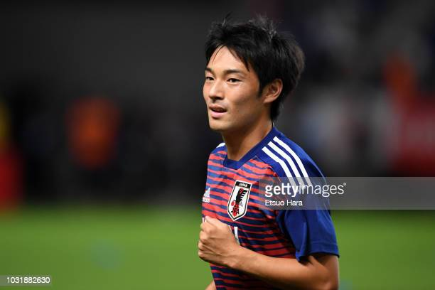 Shoya Nakajima of Japan warms up prior to the international friendly match between Japan and Costa Rica at Suita City Football Stadium on September...