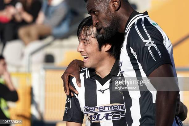 Shoya Nakajima of Portimonense SC celebrates after during the Liga NOS match between Portimonense SC and CD Tondela at Estadio Municipal de Portimao...