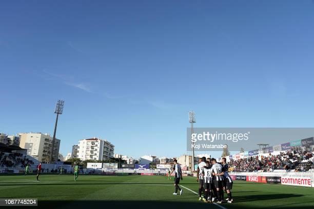 Shoya Nakajima of Portimonense SC celebrates after scoring his team's third goal during the Liga NOS match between Portimonense SC and CD Tondela at...