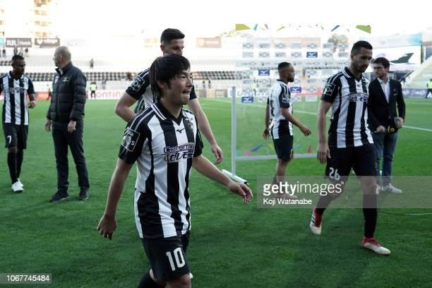 Shoya Nakajima of Portimonense SC celebrates after winning during the Liga NOS match between Portimonense SC and CD Tondela at Estadio Municipal de...