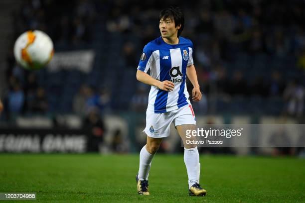 Shoya Nakajima of Porto in action during the UEFA Europa League round of 32 second leg match between FC Porto and Bayer 04 Leverkusen at Estadio do...