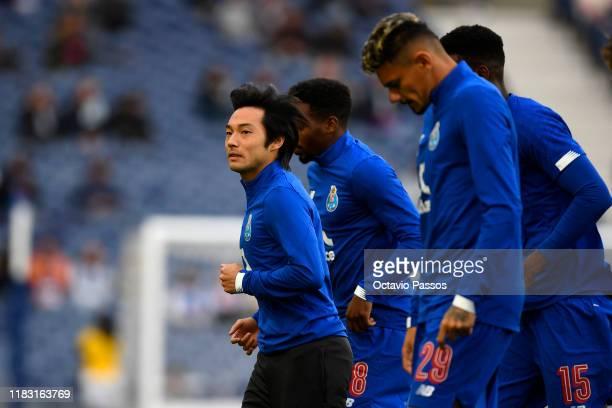 Shoya Nakajima of Porto warms up prior to the UEFA Europa League group G match between FC Porto and Rangers FC at Estadio do Dragao on October 24,...