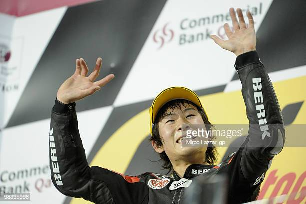 Shoya Tomizawa of Japan and Technomag - CIP celebrates on the podium after winnintg the Moto2 race of the Qatar Grand Prix at Losail Circuit on April...