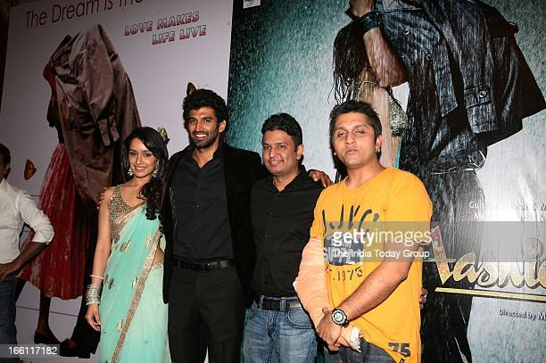 Shraddha Kapoor Aditya Kapur Mohit Suri and Bhushan Kumar at the music launch of the film Aashiqui 2 in Mumbai on 8th April 2013