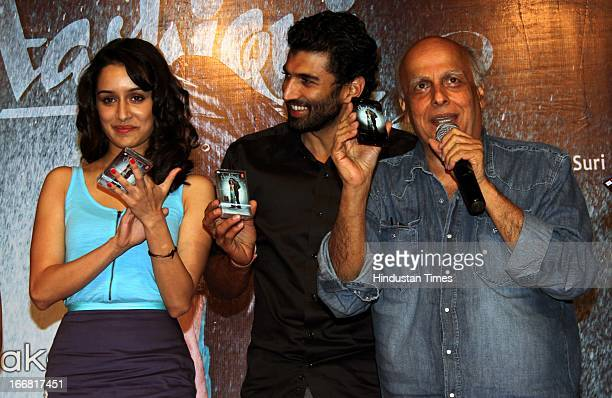 Shraddha Kapoor Aditya Roy Kapur and Mahesh Bhatt at Press conference of upcoming film Aashiqui 2 at Laxmi Studious Film City on April 15 2013 in...