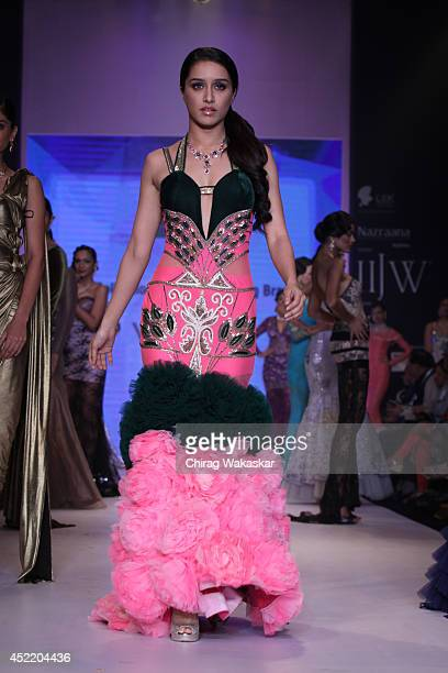 Shraddha Kapoor walks the runway at the Gitanjali Gems show during day 2 of the India International Jewellery Week 2014 at grand Hyatt on July 15...