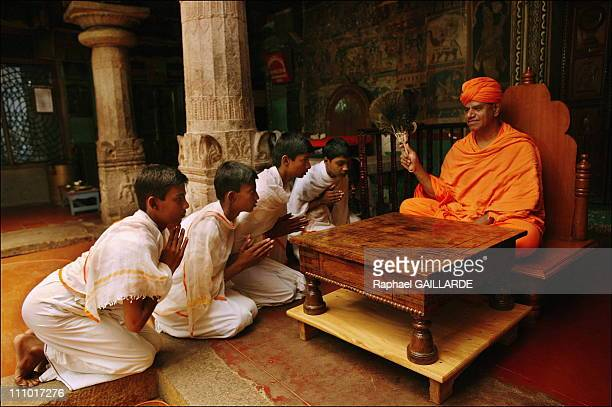 Shravana Belgola, the Digambara Jain novices have a great respect of the Bhattaraka in charge of their religious education in India in November ,...