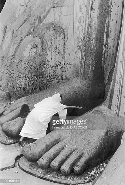 Shravanabelagola India in 2006 A Jain nun touching the feet of the statue of Bahubali Karnakata during the Mahamastakabisheka ceremony