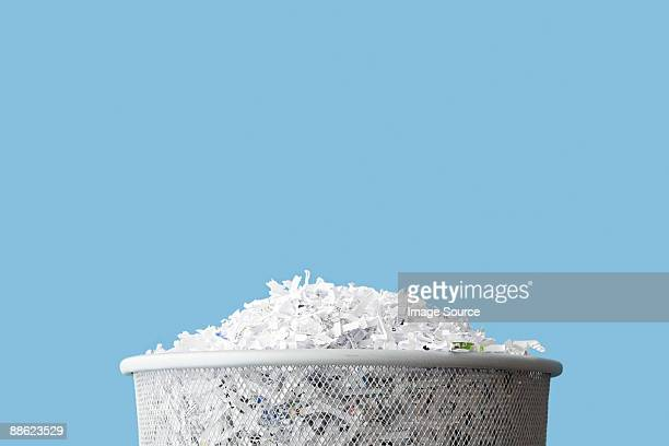 shredded paper in a bin - shredded stock pictures, royalty-free photos & images