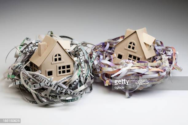 Shredded world currencies wrapped around small houses