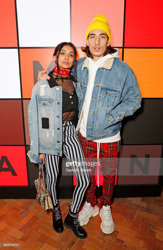 Shree Patel (L) and Hector Bellerin attend the Topman LFWM party at Mortimer House on January 7, 2018 in London, England.