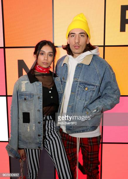 Shree Patel and Hector Bellerin attend the TOPMAN LFWM Party during London Fashion Week Men's January 2018 at Mortimer House on January 7 2018 in...