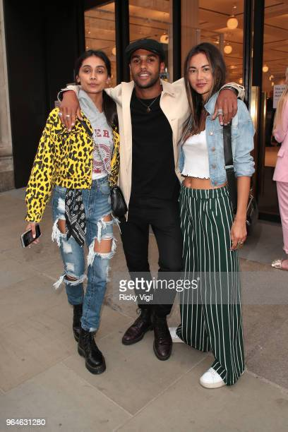 Shree Patel Lucian Laviscount and Ana Tanaka seen attending Kurt Geiger boutique opening party at Selfridges on May 31 2018 in London England