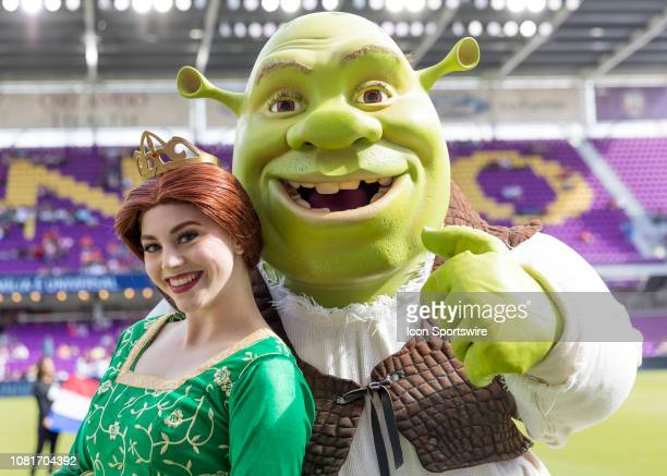 Shrek and Princess Fiona Before the Florida Cup soccer match between Sao Paulo FC and Ajax Amsterdam on January 12 2019 at Orlando City Stadium in...