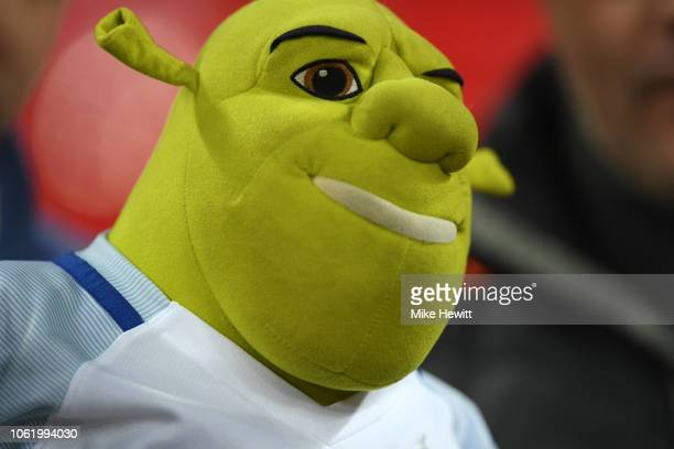 Shrek doll is seen after the International Friendly match between England and United States at Wembley Stadium on November 15 2018 in London United...