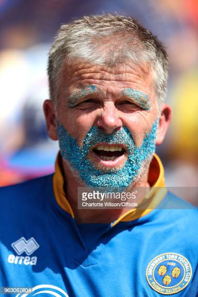 Shrewsbury fan with blue glitter in his eyebrows and beard during the Sky Bet League One Play Off Semi FinalSecond Leg between Rotherham United and...