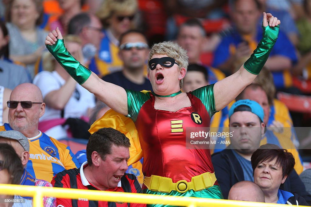 A Shrewsbury Town fan in fancy dress during the Sky Bet League One match between Swindon Town and Shrewsbury Town at County Ground on May 8, 2016 in Swindon, England.