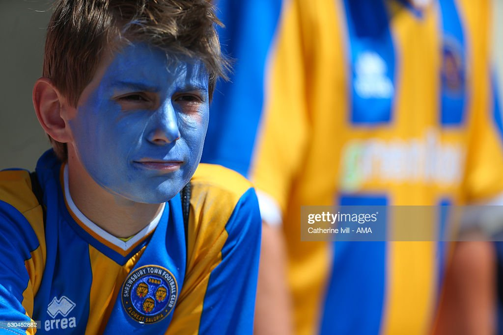 A Shrewsbury Town fan with a painted face during the Sky Bet League One match between Swindon Town and Shrewsbury Town at County Ground on May 8, 2016 in Swindon, England.