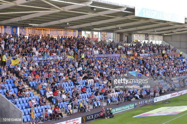 Shrewsbury Town fans in the safe standing area during the Sky Bet League One match between Shrewsbury Town and Bradford City at New Meadow on August...