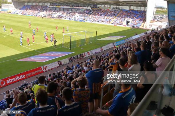 Shrewsbury Town fans watching from the Safe standing area during the Sky Bet League One match between Shrewsbury Town and Bradford City at New Meadow...