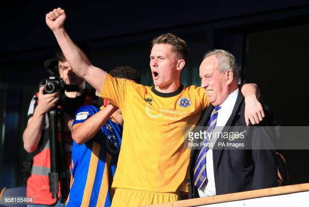 Shrewsbury Town goalkeeper Dean Henderson celebrates with Shrewsbury Town Chairman Roland Wycherley at the end of the Sky Bet League One playoff...