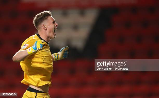 Shrewsbury Town goalkeeper Dean Henderson reacts after the final whistle during the Sky Bet League One Playoff Semi Final First Leg match at The...