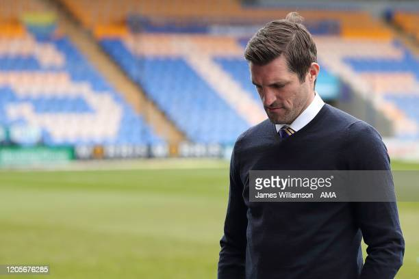 Shrewsbury Town manager / head coach Sam Ricketts during the Sky Bet League One match between Shrewsbury Town and Oxford United at Montgomery Waters...