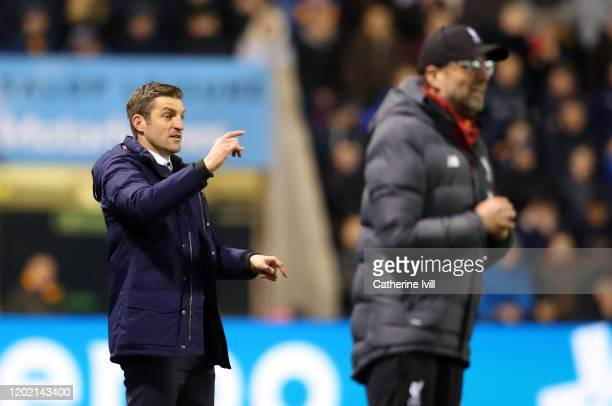 Shrewsbury Town manager Sam Ricketts gives instructions during the FA Cup Fourth Round match between Shrewsbury Town and Liverpool at New Meadow on...