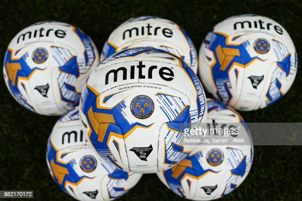 Shrewsbury Town Mitre match balls before the Sky Bet League One match between Chesterfield and Shrewsbury Town at Proact Stadium on March 11 2017 in...