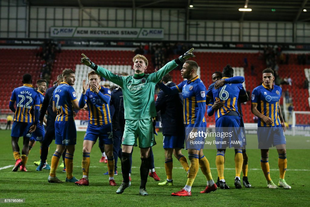 Shrewsbury Town players celebrate at full time during the Sky Bet League One match between Rotherham United and Shrewsbury Town at The New York Stadium on November 16, 2017 in Rotherham, England.