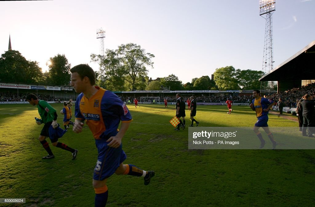 Shrewsbury Town players run out for the last ever match at Gay Meadow
