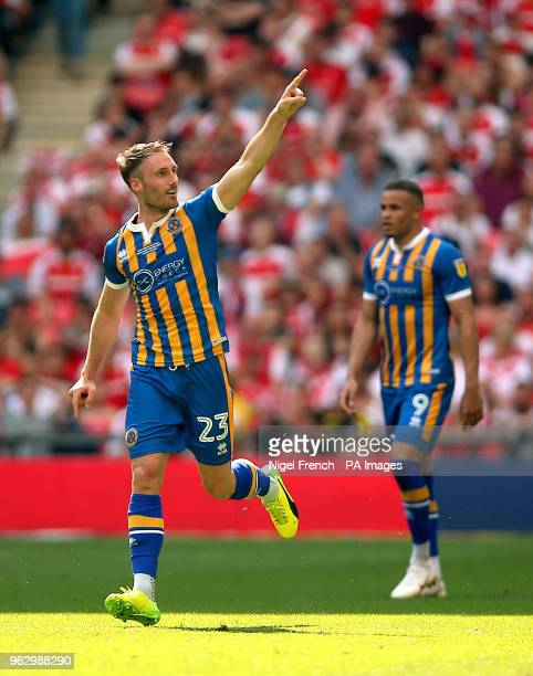 Shrewsbury Town's Alex Rodman celebrates scoring his side's first goal of the game during the Sky Bet League One Final at Wembley Stadium London