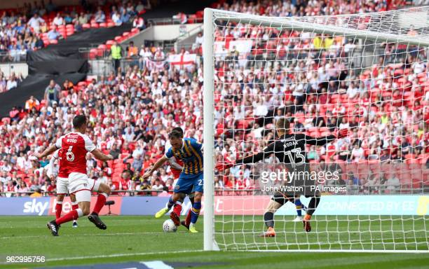 Shrewsbury Town's Alex Rodman scores his side's first goal of the game during the Sky Bet League One Final at Wembley Stadium London