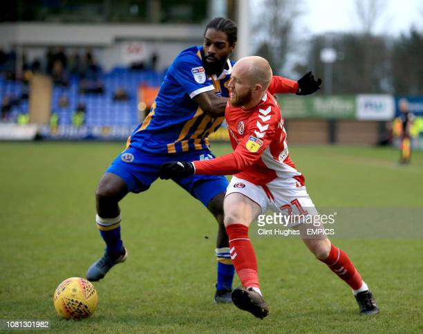 Shrewsbury Town's Anthony Grant and Charlton Athletic's Jonny Williams battle for the ball Shrewsbury Town v Charlton Athletic Sky Bet League One...