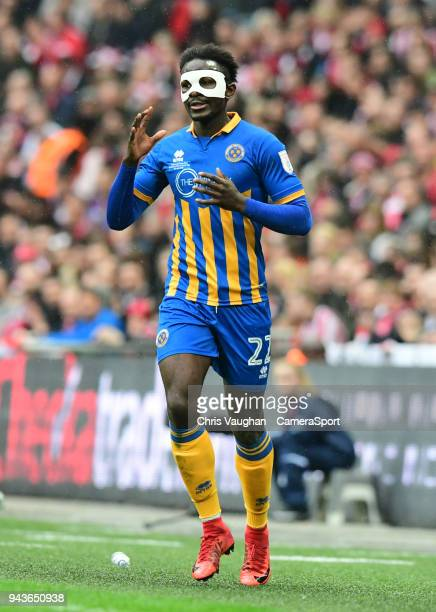 Shrewsbury Town's Aristote Nsiala during the Checkatrade Trophy Final match between Lincoln City and Shrewsbury Town at Wembley Stadium on April 8...