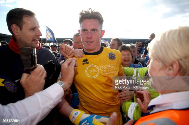 Shrewsbury Town's Dean Henderson at the end of the Sky Bet League One playoff second leg match at Montgomery Waters Meadow Shrewsbury